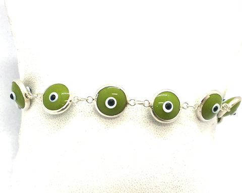 "Solid Sterling Silver Evil Eye 7.5"" Bracelet"