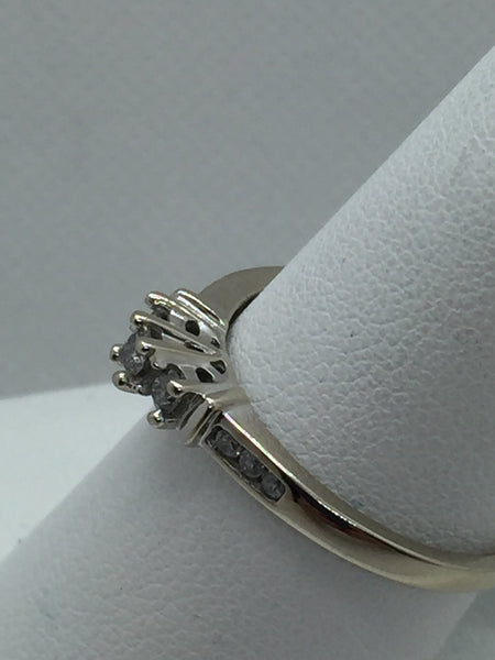Vintage 10k Solid White Gold 3 Stone Diamond Engagement Ring