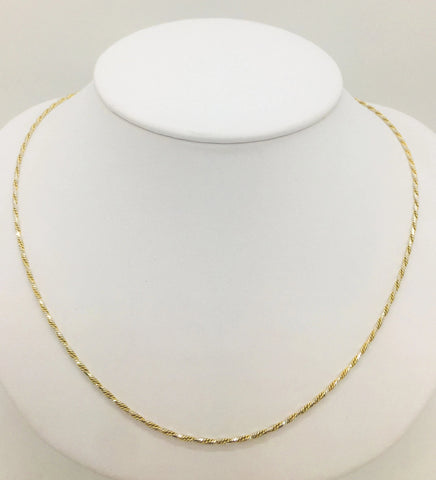 18K Solid Two-Tone Gold Fancy Chain Necklace, 16""