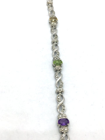 Solid Sterling Silver Bracelet With Multi-Colored & Illusion Stones