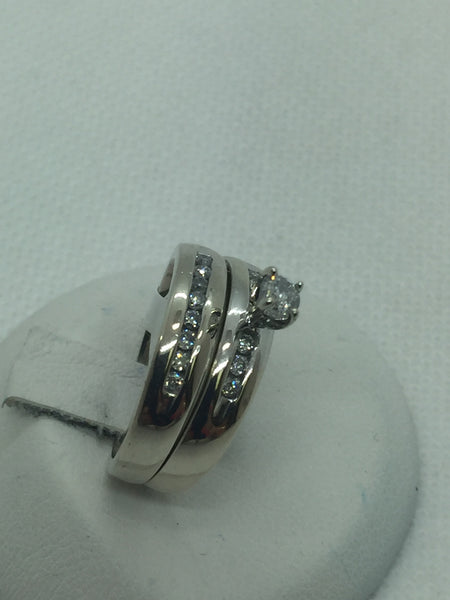 Vintage 10k Solid White Gold Diamond Wedding Engagement Ring Set