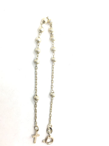 "Solid Sterling Silver 7"" Bracelet with Silver Beads & Cross"