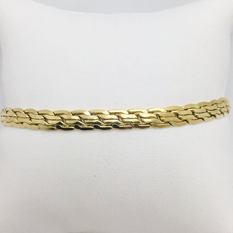 18K Solid Yellow Gold Hollow Ladies Bracelet, Made in Italy, 7.25""