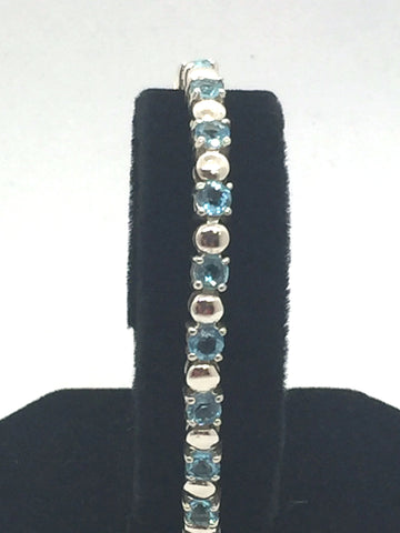 "Solid 925 Sterling Silver 8"" Bracelet With Light Blue Stones"
