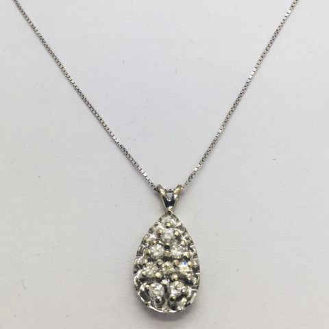 "14K Solid White Gold Diamond Pendant w/18"" Chain 