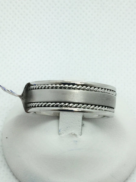14k Solid White Gold Men's Handmade Wedding Band Ring