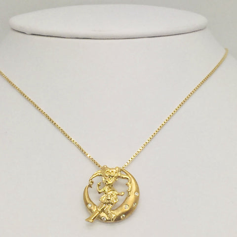 "18K Solid Yellow Gold Diamond Pendant Crescent Moon & Girl with 16"" 18K Gold Chain"
