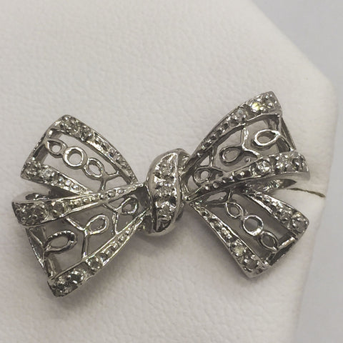 14K Solid White Gold Diamond Bow Brooch Pin