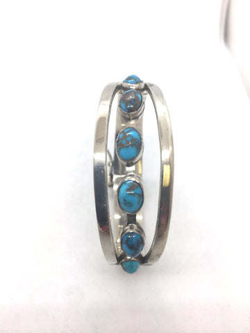 Solid Sterling Silver Bangle Bracelet With Natural Turquoise