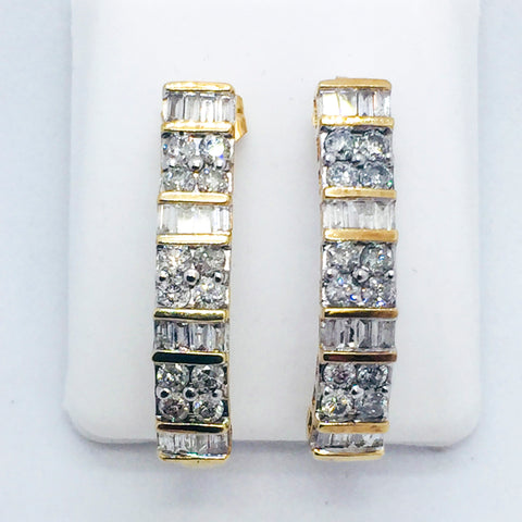 10K Solid Yellow Gold Diamond Post Earrings