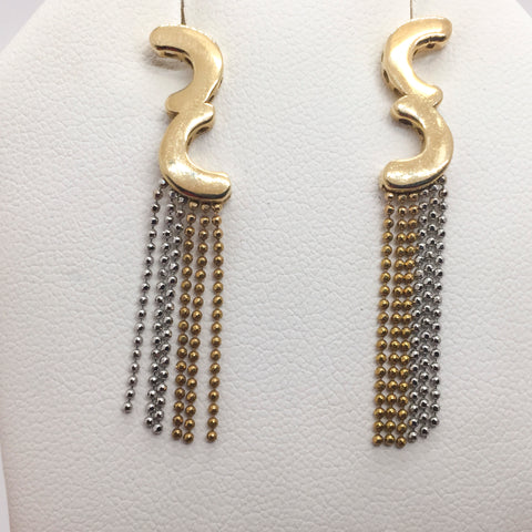 14K Solid Two-Tone Gold Dangle Bead Earrings