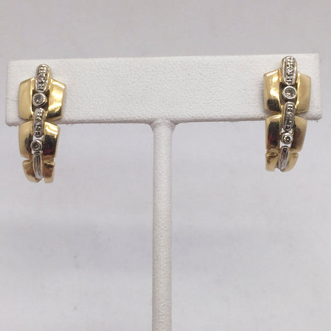 14K Solid Yellow Gold Diamond Omega Clip Post Huggie Earrings | Pre-Owned