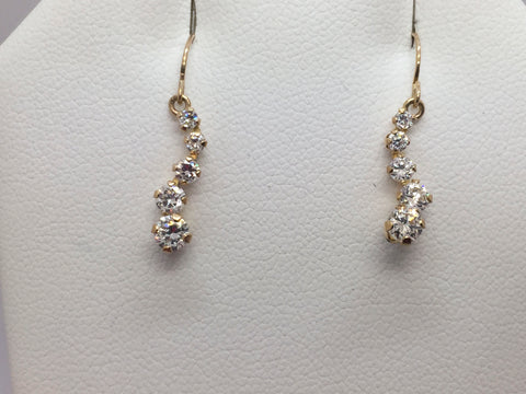 10K Solid Yellow Gold and Cubic Zirconia Dangle Hook Earrings
