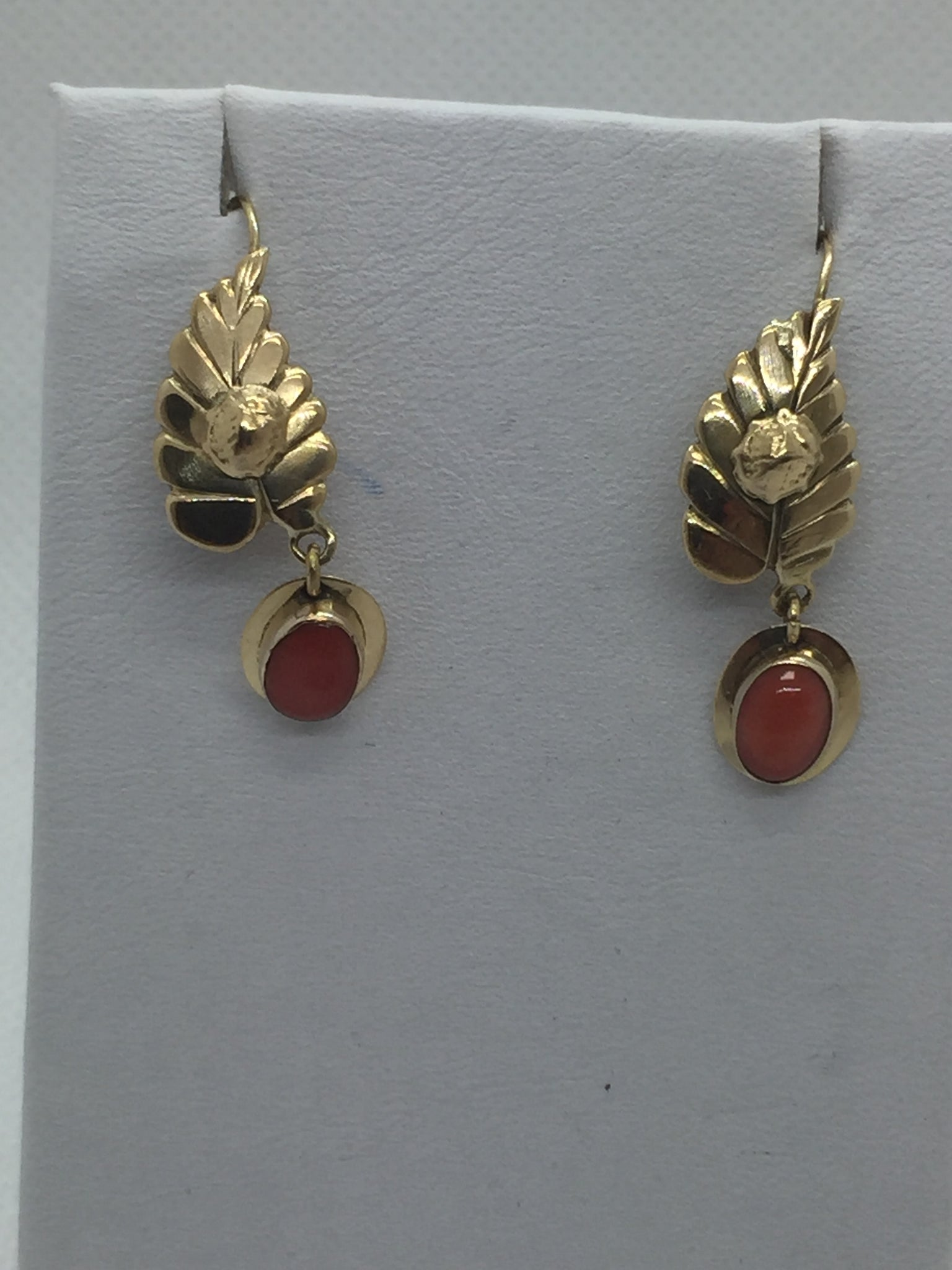 18k Solid Gold Coral Dangling Earrings