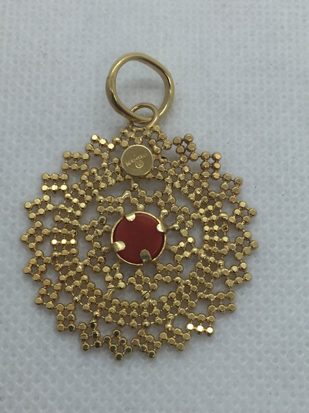 14k Solid Gold Red Coral Pendant