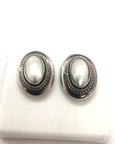 Solid 925 Sterling Silver & Pearl Post Earrings
