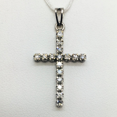18K Solid White Gold Diamond Cross Pendant