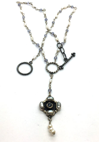 Solid Sterling Silver Toggle Clasp Necklace with Pearls, Iolite & Beads