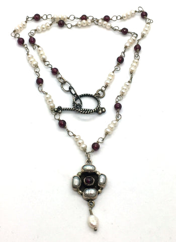 Solid Sterling Silver Toggle Clasp Necklace with Pearls & Garnets