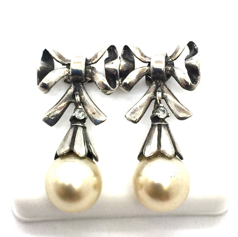 Solid Sterling Silver & Pearl Bowtie Earrings