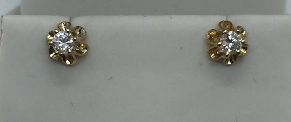 10k Solid Yellow Gold Diamond Stud Earrings, .20 ctw