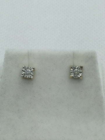 10k Solid Gold Illusion Set Diamond Stud Earrings