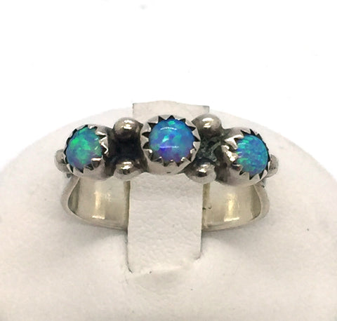 Solid 925 Sterling Silver with Blue Opal Navajo Ring