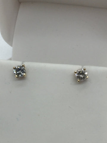 14k Solid Gold Diamond Stud Screwback Earrings