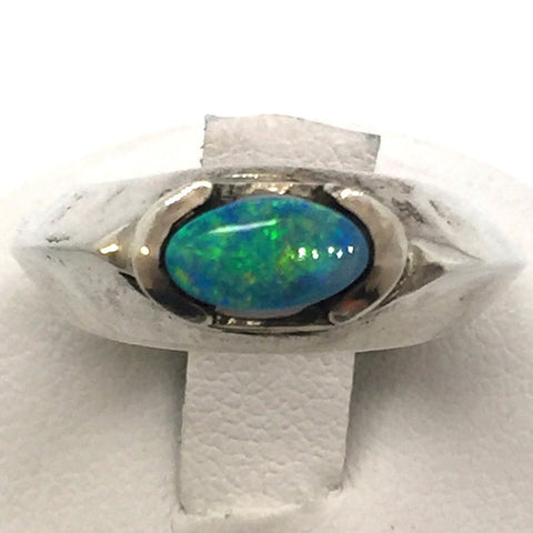 Solid 925 Sterling Silver & Genuine Black Opal Ring