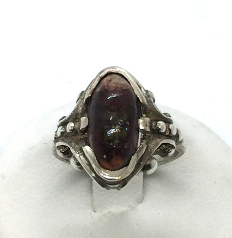 Solid 925 Sterling Silver & Genuine Mexican Fire Matrix Opal Ring