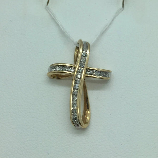 10k Solid Yellow Gold Cross With Diamonds Slide Pendant