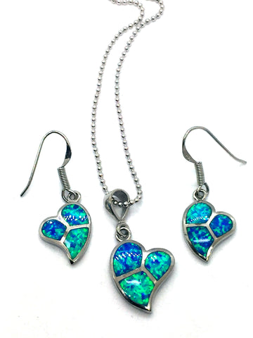 Solid Sterling Silver Rhodium Finish with Synthetic Blue Opal Inlay Heart Pendant, Chain & Earrings