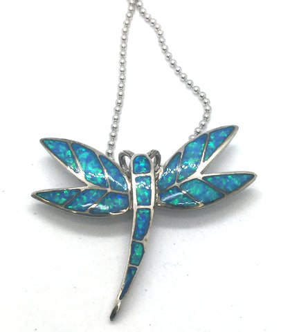 Solid Sterling Silver Rhodium Finish with Synthetic Blue Opal Inlay Dragonfly Pendant & Chain