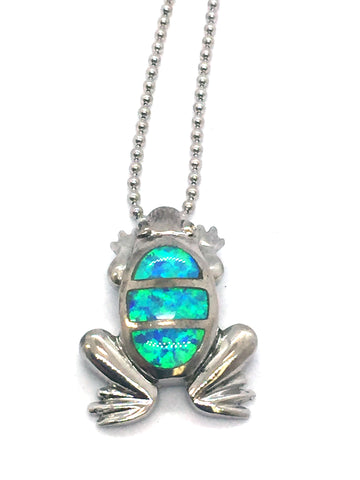 Solid Sterling Silver Rhodium Finish with Synthetic Blue Opal Inlay Turtle Pendant & Chain
