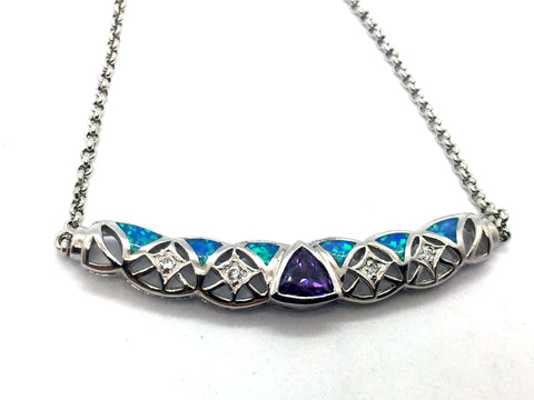 Solid Sterling Silver Rhodium Finish with Synthetic Blue Opal, Amethyst & Cubic Zirconia Pendant & Chain