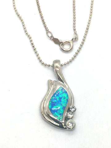 Solid Sterling Silver Rhodium Finish with Blue Opal & Cubic Zirconia Pendant & Chain