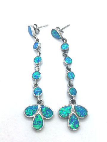 Solid Sterling Silver Rhodium Finish with Blue Opal Drop Earrings