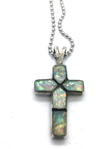 Solid Sterling Silver with Synthetic Opal Cross Pendant & Chain