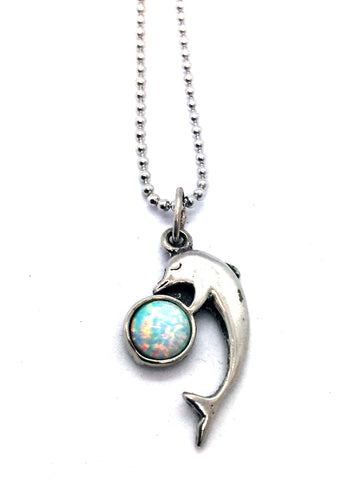 Solid Sterling Silver with Synthetic Opal Dolphin Pendant & Chain