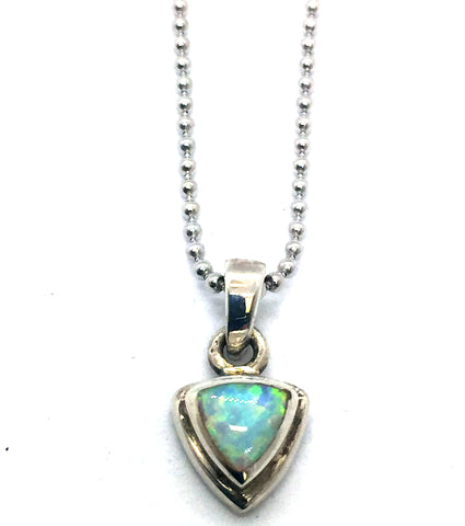 Solid Sterling Silver with Synthetic Opal Pendant & Chain