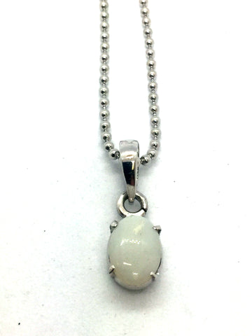 Solid Sterling Silver with Australian Opal Pendant & Chain
