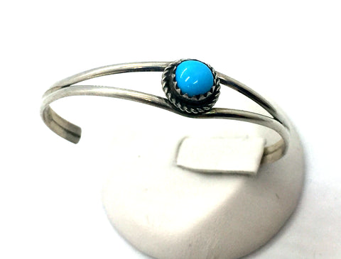 Solid Sterling Silver with Turquoise Baby Bracelet