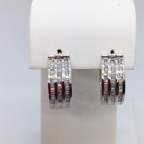 10K Solid White Gold Hoop Earrings with Diamond Baguettes, 1 CTW