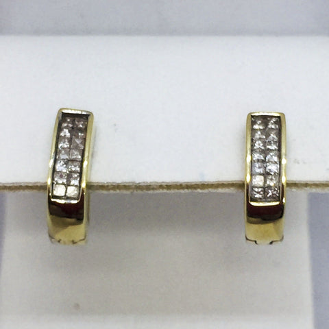 14K Solid White Gold Diamond Huggie Earrings