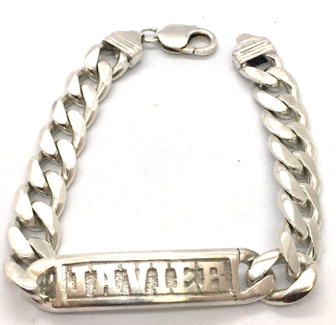 Solid 925 Sterling Silver Curb Link Javier ID Bracelet with Lobster Clasp