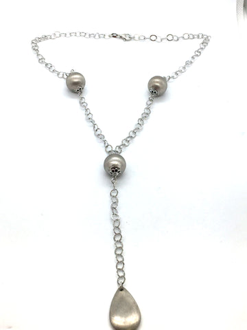 Solid 925 Sterling Silver Fancy Bead Pendant & Chain