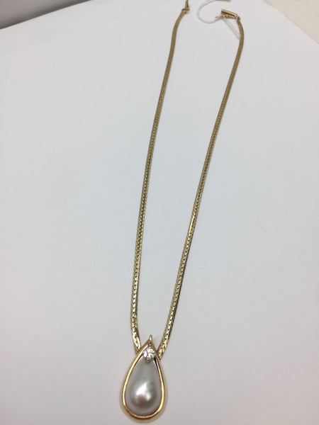 14Kt Gold Chain with Mabe Pearl & Diamond Pendant