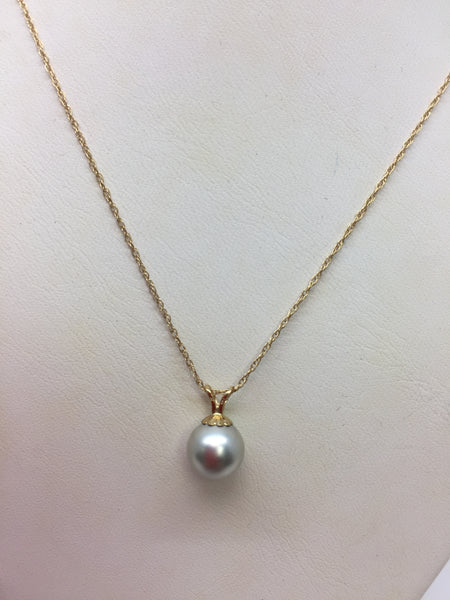 14K Yellow Gold Shell Pearl Pendant with Chain, 17""