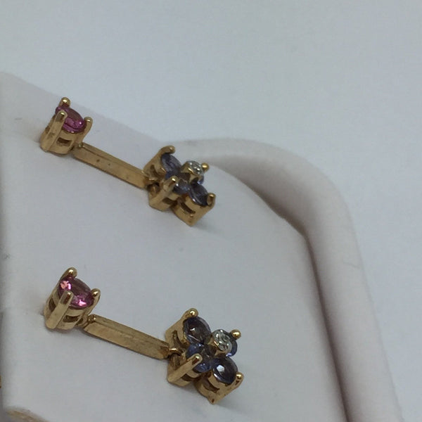 14k Solid Gold Genuine Pink Tourmaline & Iolite Dangling Stud Earrings