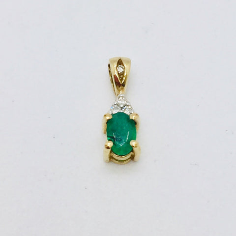 14k Yellow Gold Emerald with Diamonds Pendant
